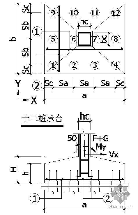 某十二桩承台节点构造详图