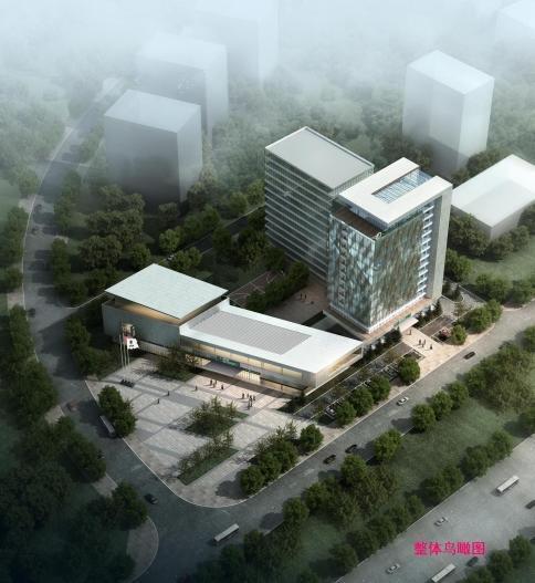[重庆]高层金属板幕墙办公楼建筑设计方案文本-高层金属板幕墙办公楼建筑效果图