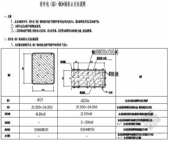 柱外包(粘)钢加固表示方法说明