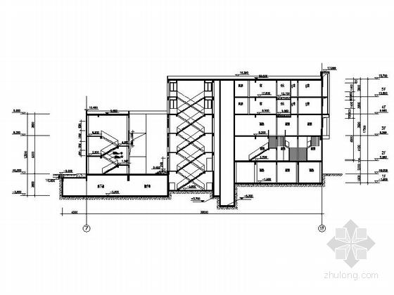 现代风格多层住宅区规划设计剖面图