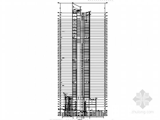 [深圳]56层玻璃幕墙办公大厦建筑设计施工图(含效果图知名设计院)-56层玻璃幕墙办公大厦建筑剖面图