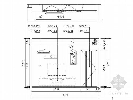 [宁波]姚江官邸雅致现代两居室装修施工图客厅立面图