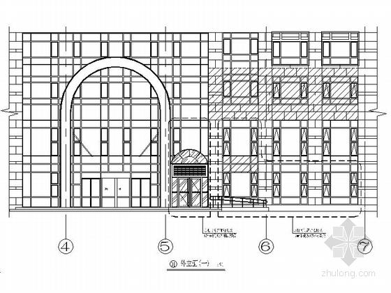 [北京]地方性股份制商业银行支行装修施工图外观立面图