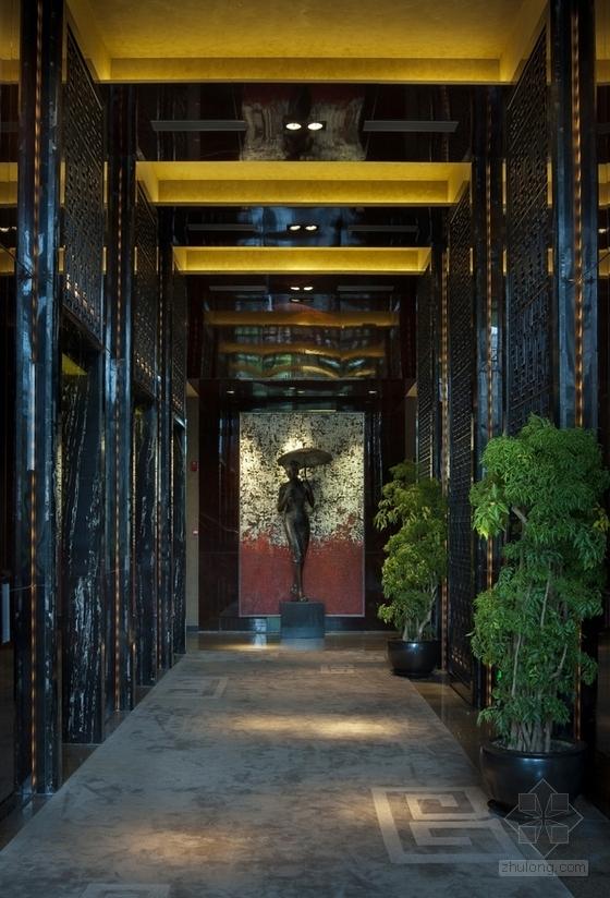 [上海]豪华现代酒店卫生间电梯厅走道室内装修施工图(含效果)效果图