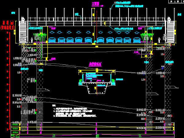 2017年钢管独柱墩三跨连续钢箱梁人行天桥图纸44张CAD(桥宽51m)