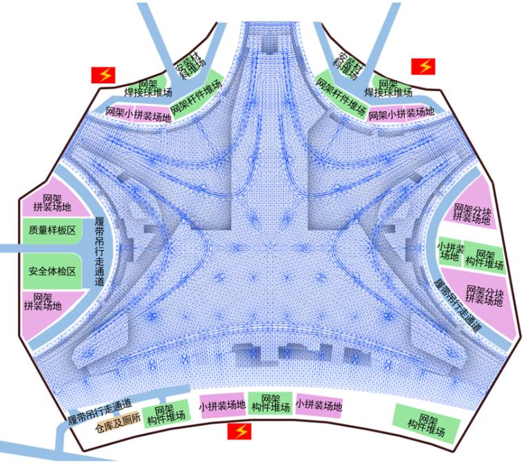 大厅网架施工阶段现场平面布置图