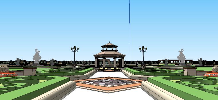新古典主义居住区景观模型 9