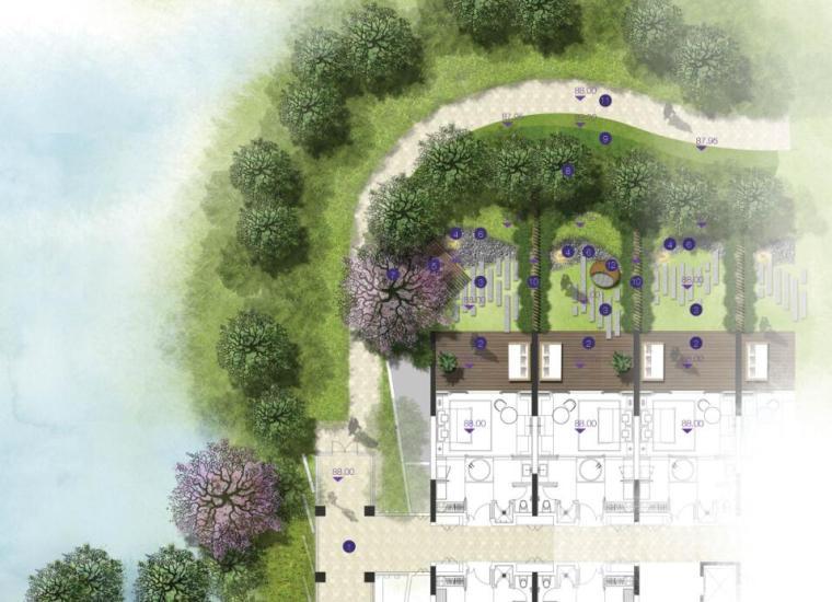 高端酒店景观设计——客房花园类型平面图