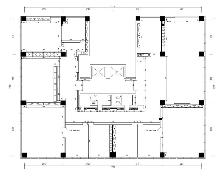 [山东]混搭--黄海城市花园七层办公平面装修施工图+效果图-结构放线图