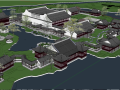 中式风格庭院和园林SU模型