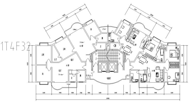 一梯四户三室两厅平面图