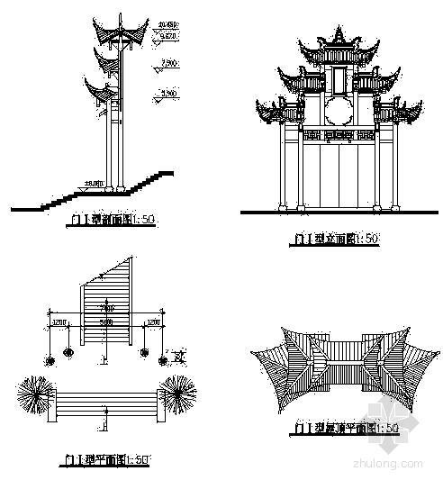 园林景区大门建筑设计施工图
