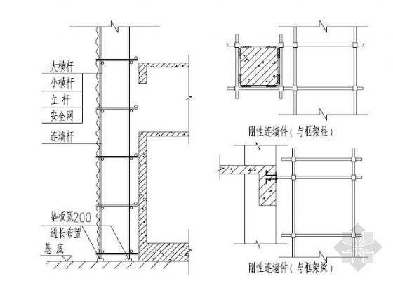 钢管脚手架与框架梁和柱的刚性连接平面详图