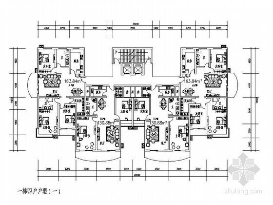 某塔式高层住宅一梯四户户型图(150/160)