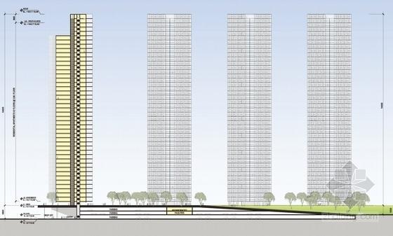 [深圳]沿海新区超高层城市中心总体规划设计方案文本-沿海新区超高层城市中心剖面图