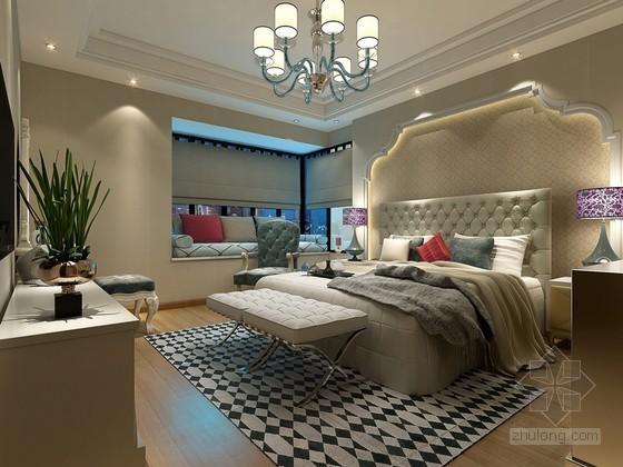 时尚欧式卧室3D模型下载