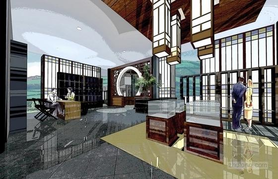 [深圳]中式风情文化主题快车旅馆室内装修方案图效果图