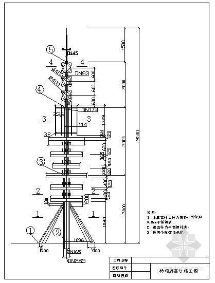 某10m楼顶避雷塔结构设计图
