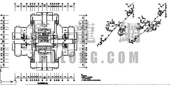 商住楼住宅底层排水管平面系统图