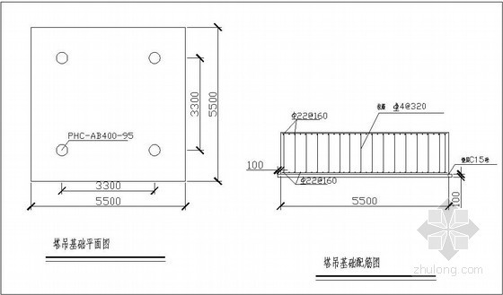 [广东]多层图书馆工程塔吊安装施工方案(TC6012-6、QTZ63(5013))-塔吊平面图