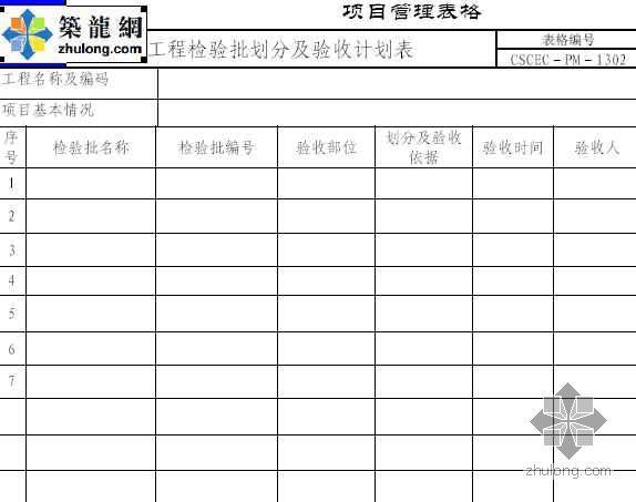 工程检验批划分及验收计划表