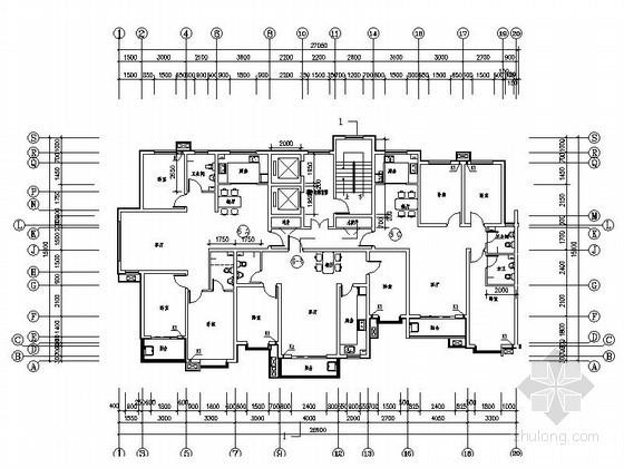 小高層住宅一梯三戶型平面圖