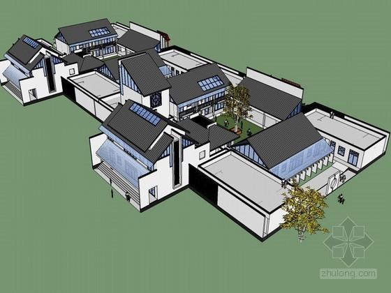 中式展厅建筑SketchUp模型下载