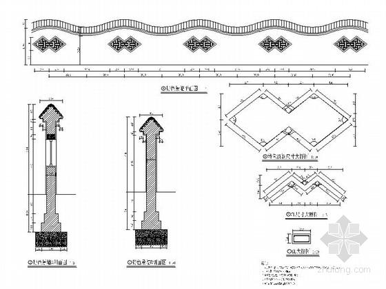 [浙江]现代工业园区景观改造设计施工图-通用围墙详图