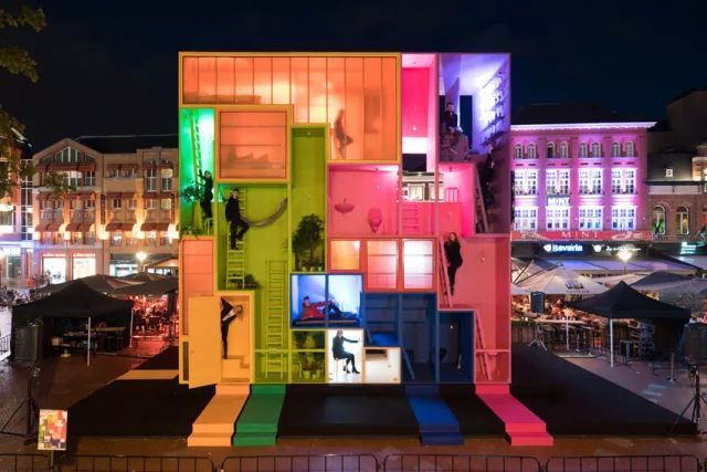 设计天津网红图书馆的工作室,造了俄罗斯方块叫人住