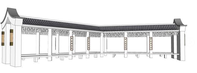古典白色廊架设计(SU模型)