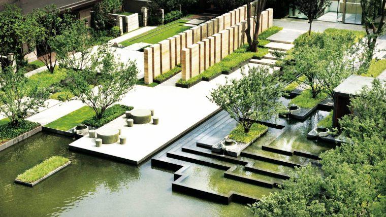 重庆传统与现代元素结合的悦湾住宅景观