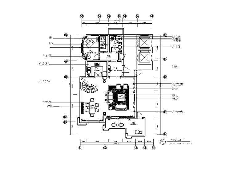 法式奢华别墅CAD施工图(含效果图)
