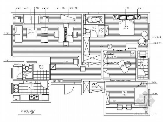 [苏州]东方现代简约三居室样板间CAD装修施工图(含高清实景图)