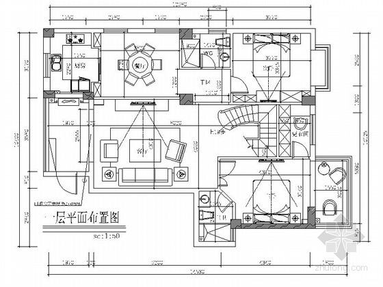 [福建]高端居住区简欧风格两层别墅室内装修施工图