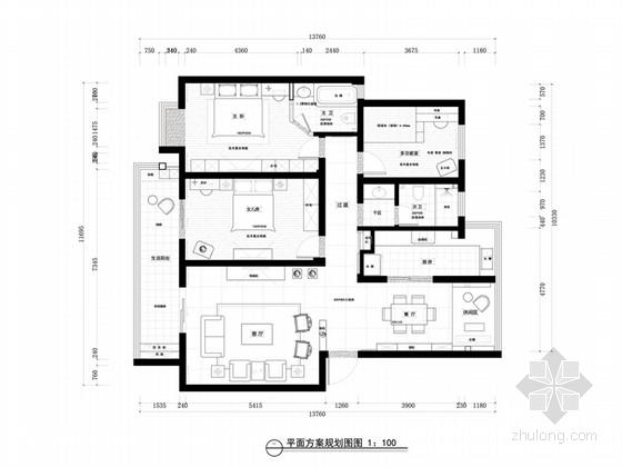 [安徽]150平新中式东方情怀三居室家装设计方案(含设计说明)