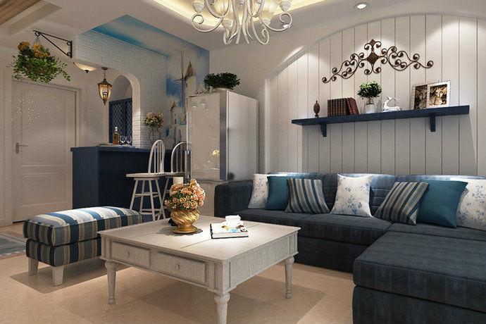 地中海风格清新典雅大户型客厅装修效果图