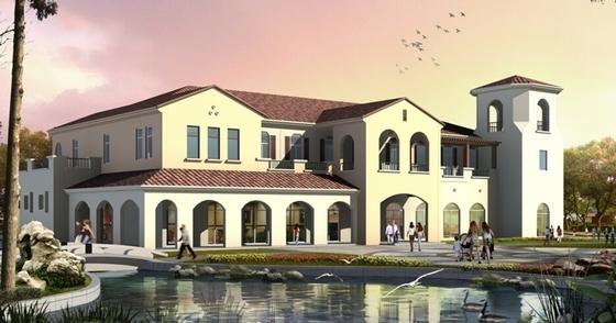 [江苏]生态型西班牙风格住宅区规划设计方案文本-生态型西班牙风格住宅区规划设计效果图