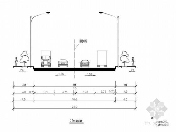 工业园区连接线双向四车道道路工程施工图设计(景观路灯排水综合管线)
