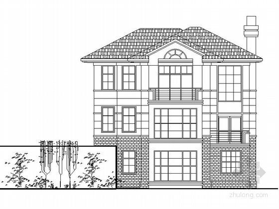 某二层坡地别墅建筑方案图