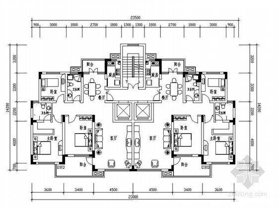 [合集]23个带电梯板式住宅户型图