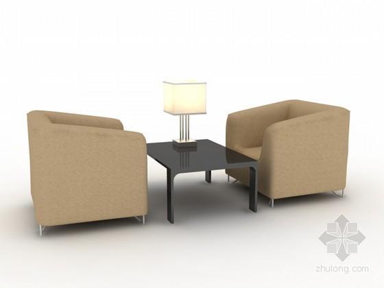 两人沙发茶几组合3d模型下载