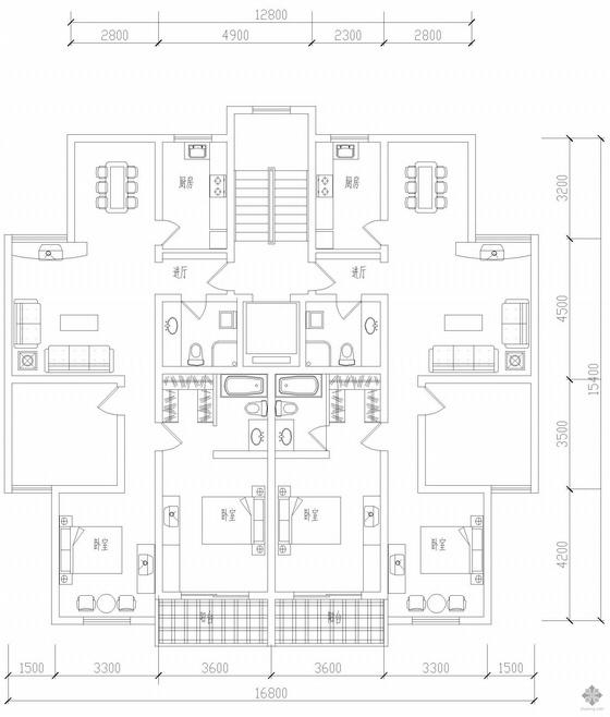 板式高层一梯二户户型图(117/117)