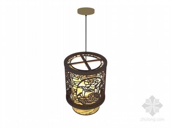 中式镂空吊灯3D模型下载