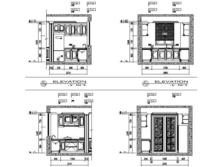 [苏州]全套售楼处+样板房2套施工图+概念方案(含效果图)-立面图