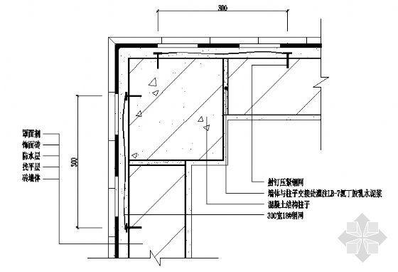 墙体与混凝土结构柱子交接处构造(广东省标DBJ15-19-97)