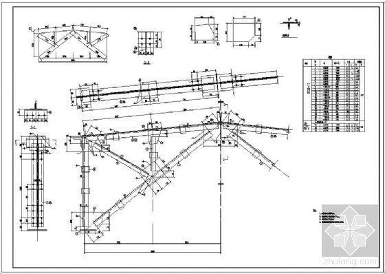 某6m跨钢天窗架结构节点构造详图