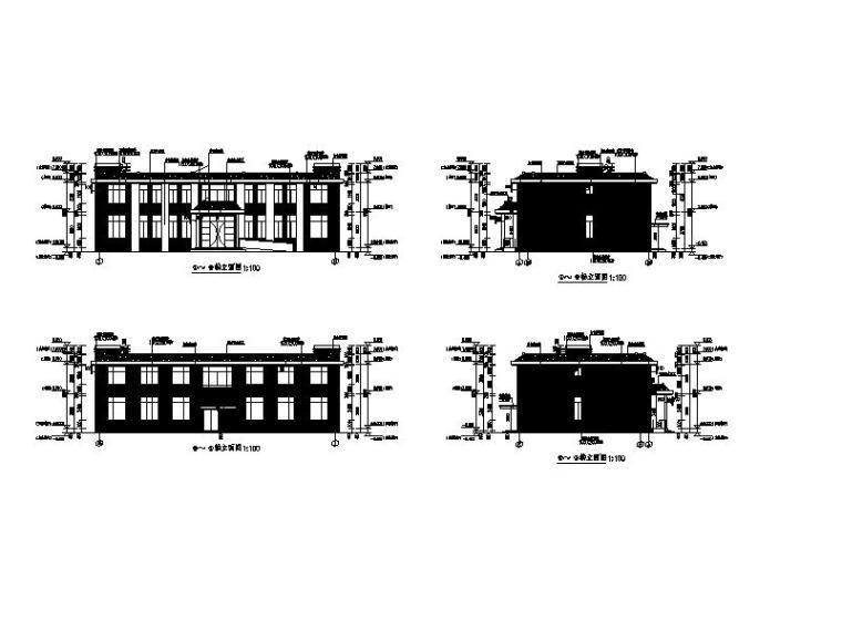 [宁夏]现代贴砖立面厂区综合楼及门卫室施工图-现代贴砖立面厂区综合楼及门卫室立面图