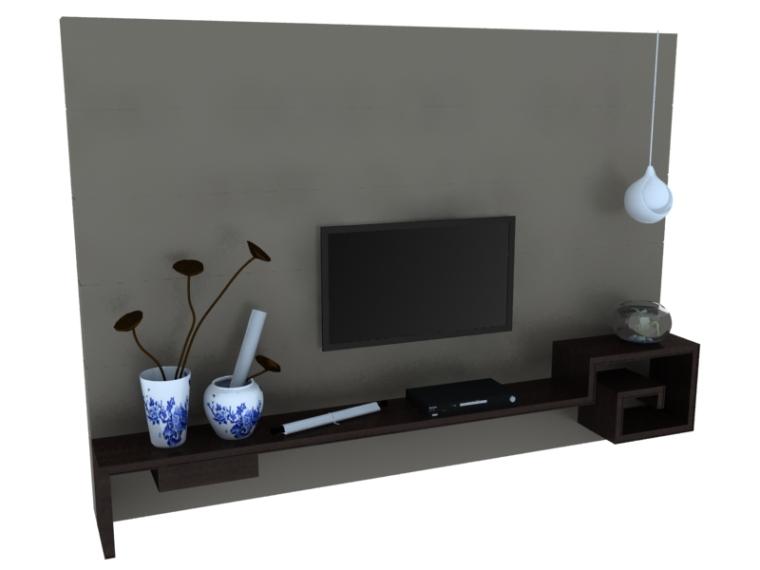 简中式电视墙3D模型下载