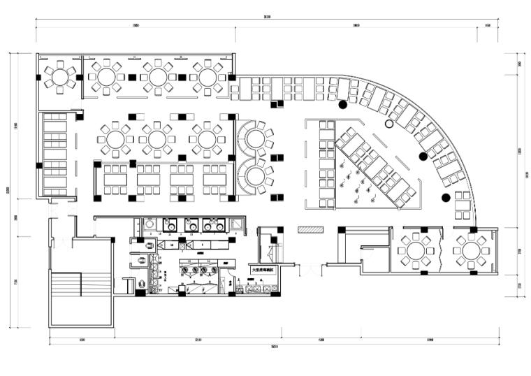 [福建]得悦饭庄混搭风格室内设计施工图(含效果图)