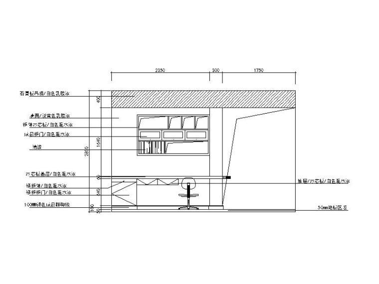 现代风格二居室样板房设计CAD施工图(含效果图)_4